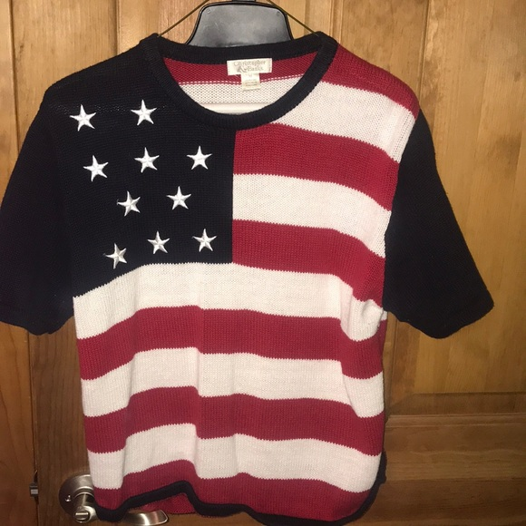 Christopher & Banks Sweaters - Short sleeve American flag sweater